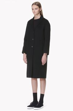 [SYSTEM 0] Wool cashmere blend three button coat