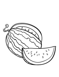 Printable watermelon coloring page. Free PDF download at http://coloringcafe.com/coloring-pages/watermelon/.