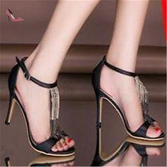 pwne Bottes Hiver Mary Jane Talon occasionnels PU Feather Black US7.5 / EU38 / UK5.5 / CN38 - Chaussures pwne (*Partner-Link)