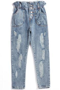Blue Pockets Buttons Denim Pant -SheIn(Sheinside)
