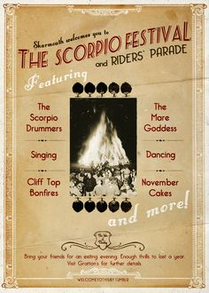 I've only been to the Scorpio Festival once…everywhere there were costumes and the Scorpio drummers and the wail of the singers. Mum bought us bells and ribbons and November cakes, which made my hands sticky for days.