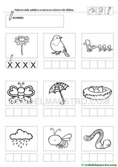 Ficha 10-Contar sílabas Pre K Activities, Preschool Worksheets, Drawing For Kids, It Cast, Psp, Literacy Activities, Alphabet, Kids Writing, Letter Recognition