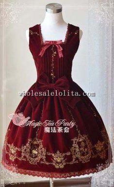 Swan Lake Winter Dance Embroidery Velveteen JSK Lolita