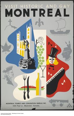 Vintage Travel Poster - Montreal - Visit Historic and Gay Montreal - Canada - Posters Canada, Ski Posters, Cool Posters, Tourism Poster, Poster S, Poster Prints, Montreal Ville, Of Montreal, Montreal Travel
