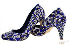 Swarovski Crystal Faberge Cobalt Navy Blue And Gold Court Bridal Wedding Shoe by TheCrystalShoeCo.......