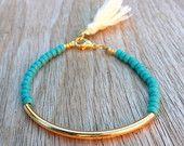 Items similar to Gold tube bracelet, Beaded Bracelet, beeded bangle, tassel bracelet, Friendship bracelet, seed beads bracelet, turquoise beads bracelet on Etsy