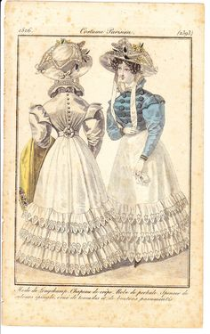 1820's Antique Print French Fashion Costume by KellyLynnDiscovery