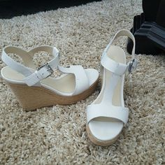 Off white platform wedges Marc Fisher platform wedges. Like new!!! Worn only once. They're just too high for me. No damage whatsoever. In perfect condition. Marc Fisher Shoes Platforms