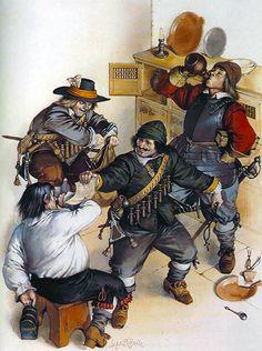 """El pillaje - el conde del ejército de Essex, 1642""""    • Mosquetero, regimiento de Thomas Ballard  • Mosquetero, regimiento de John Hampden  • Pikeman, Regimiento de Lord Robartes"""