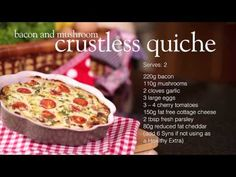 Slimming World bacon & mushroom crustless quiche recipe - YouTube
