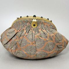 Art Deco 1930s French Silk Brocade Bag Czech Emerald Glass Jeweled Evening Opera Purse