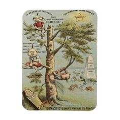 Vintage Sewing Machine Ad Magnet with Gremlins - vintage gifts retro ideas cyo