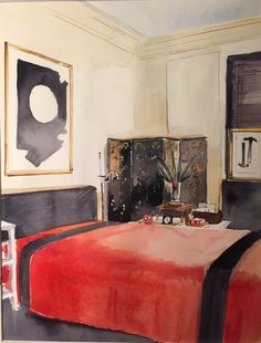 Rendering of Albert Hadley's bedroom By mita corsini bland