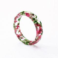Bague à facettes 17mm Rose-Vert en résine fleurie