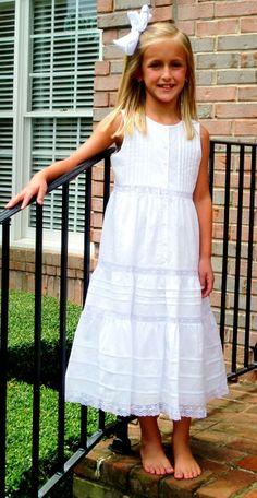 classic white beach portrait dress for girls