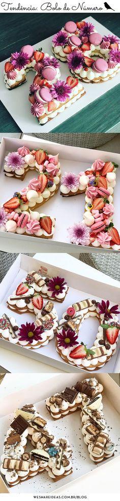 tendência do bolo em forma de número para celebrar aniversários