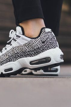 check out 7a42b 6fb71 NIKE Air Max 95 Premium black amp white dotted Sneakers Style, Chanel  Sneakers