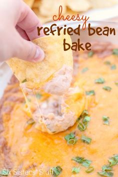 cheesy-refried-bean-bake-recipe For Cinco de Mayo Finger Food Appetizers, Yummy Appetizers, Appetizers For Party, Appetizer Recipes, Snack Recipes, Cooking Recipes, Snacks, Freezable Appetizers, Avacado Appetizers
