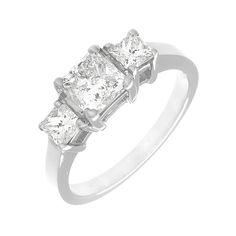 EGL Certified Diamond Engagement Ring Princess 3-Stone 1.22 Carat 18k White Gold #DiamondsByElizabeth #Prong
