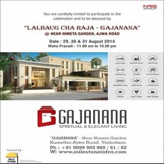 #Lalbaug cha Raja #Gajanana  #vadodara    Ours  #Amenities  ---Double height multipurpose hall, #Kids Room, Game Room, Spacious Library, #Gymnasium, Swimming pool, Restaurant, Mini #theatre, #Snookers room,   > 199 #Bungalows having #3BHK & Larger 3 BHK Lavish Bungalows on a huge land around 9 Lac Square Feet.  More Information Visit at  http://milestoneinfra.com/Client/OngoingProjects.aspx