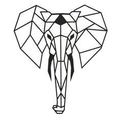 Elephant Head 52 x 45 cm Metal Wall Art Home Decor - Modern Metal Geometric Wall Decoration for Livi Antler Wall Decor, Wine Wall Decor, Metal Art Decor, Heart Wall Decor, Metal Wall Art, Geometric Elephant, Geometric Wall, Elephant Design, Metal Animal