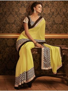 Light Yellow Georgette Saree With Stone Work