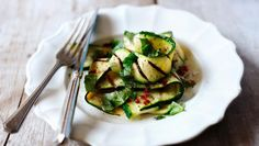 Chargrilled courgette with basil, mint, chilli and lemon        You will need a ridged grill pan or chargrill for cooking the courgette. Eat at room temperature as a summery salad.Each serving provides 47kcal, 3g protein, 2.5g carbohydrate (of which 2.5g sugars), 2.5g fat (of which 0.5g saturates), 2g fibre and 0.1g salt.