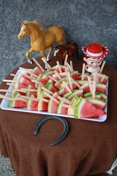 Jessie cowgirl party - watermelon on sticks