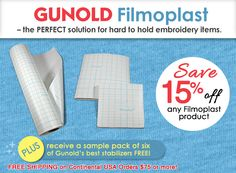 might try filmoplast for sticky hooping -not supposed to be gummy- but does leave gum on hoops???   ALSO HAVE OTHER STABILIZERS--Gunold Filmoplast Promotion with Stabilizer Sample Pack | Next Needle