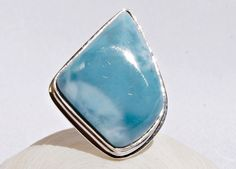 NEW DOMINICAN AA+ MARBLED FREE-SHAPED LARIMAR STONE SILVER RING SIZE 8.5 JEWELRY #DominicanLarimarStone