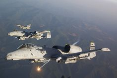 """fcba: """"A-10 Warthogs and an F-16 Fighting Falcon from Osan Airbase, South Korea, during a training flight. (USAF/Jake Melampy) """""""