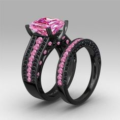 Asscher Cut Pink Cubic Zirconia Black Engagement and Wedding Ring Set for Women