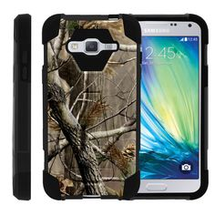 Samsung Galaxy J3 Case, Amp Prime Hard Case, Express Prime Case [SHOCK FUSION] High Resistant Fitted Hybrid Dual Layer Case with Hard Kickstand by Miniturtle® - Hunters Camouflage