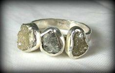 Triple Rough Diamond Engagement Ring, silver and raw diamond  Gemstone Ring, Silver Ring