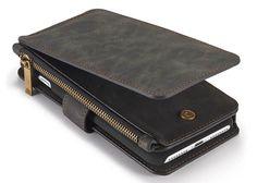 CaseMe 007 iPhone 7 Plus Retro Flannelette Leather Detachable 2 in 1 Multifunctional Wallet Case Black
