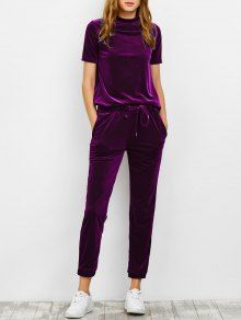 Velvet Tee and Jogging Pants Sweat Suit