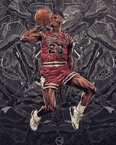 A young Michael Jordan with the Chicago Bulls flies through the air against the backdrop of his future shoe legacy in this epic piece. Basketball Art, Basketball Pictures, Basketball Legends, Basketball Players, Basketball Schedule, Michael Jordan Art, Michael Jordan Pictures, Michael Jordan Basketball, Jordan 23