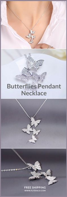 Butterflies Pendant Necklace | They are the symbol of freedom, so when butterflies choose to group together, it's because they want to do it. A delicate and elegant necklace, for the FREEDOM lovers ♥