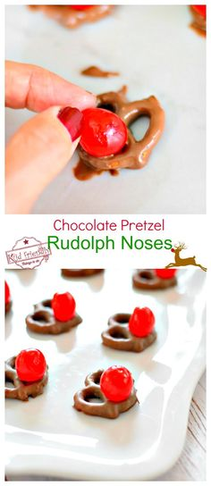 These Chocolate Pretzel Rudolph Noses for a Fun Christmas Food Craft Treat - perfect for holiday parties and kids - www.kidfriendlythingstodo.com