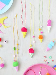 It's only fitting that July is National Ice Cream month. We'll be busy crafting these adorable ice cream cone necklaces from Link in stories for the full DIY! Cute Diy Projects, Craft Projects For Kids, Diy For Kids, Craft Ideas, Diy Ideas, Handmade Crafts, Diy And Crafts, Cream Necklaces, Ice Cream Crafts
