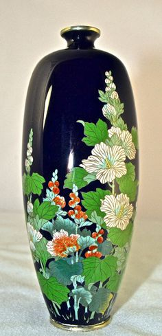 Hi Quality Antique Fine Silver Wire Japanese Meiji Cloisonne Vase Hollyhocks | eBay