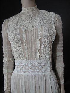 Creamy White Edwardian Mixed Lace Tea Dress from marzillivintage on Ruby Lane