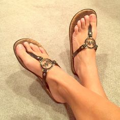 Michael Kors sandals Michael Kors flip flop thong sandals. Authentic. Cork bottom with black detailing. Silver hardware. Used but in great condition. I ship next day Michael Kors Shoes Sandals