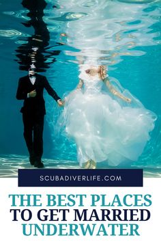 If you and your partner want to get married underwater — with or without a wedding party — there are a variety of places across the globe that can accommodate your deepest wishes. In most cases, you wear a dive mask or a full-face mask with audio communications, a tank with a regulator, BCD, and fins. #underwaterwedding #weddingdestinations #weddingideas #wedding #underwaterweddingpictures #underwaterweddingtheme #underwaterweddingdress Places To Get Married, Got Married, Getting Married, Underwater Shipwreck, Underwater Wedding, Dive Mask, Best Scuba Diving, Family Resorts, Great Barrier Reef