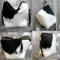 Black and White Hair on Cowhide Bag
