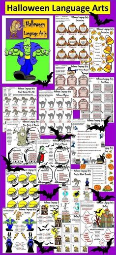Halloween Language Arts Activity Packet: This colorful activity packet contains many exercises to engage and entertain your youngsters for the Halloween season.  Contents include: * Contractions sheets * Plural nouns sheet * Synonyms sheets * Antonyms she