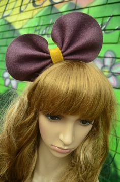 Wine purple round bow headband/hair by SewingitAU on Etsy