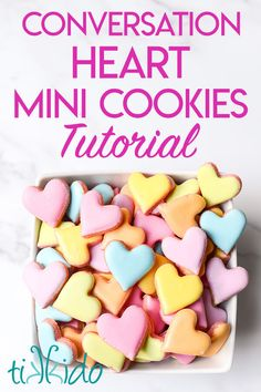 These conversation heart sugar cookies are the perfect easy to make mini sugar cookies to make for Valentine's day. These conversation heart sugar cookies are the perfect easy to make mini sugar cookies to make for Valentine's day. Valentine Desserts, Valentines Food, Sugar Cookies, Candy Cookies, Heart Cookies, Decorated Cookies, Strawberry Mousse, Low Carb Cheesecake, Unsweetened Chocolate