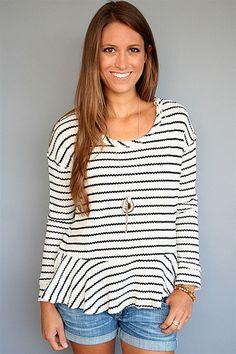Free People - Ivory   Black Striped Knit Peplum Top