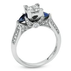 Princess-Cut Diamond + Sapphire Ring